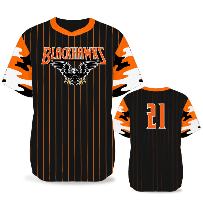 Custom Sublimated Elite Camo Rilla Traditional BB Jersey SS No-Button