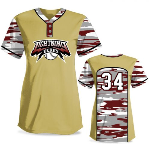Custom Sublimated Elite Camo Soul Traditional FP Jersey SS 2-Button