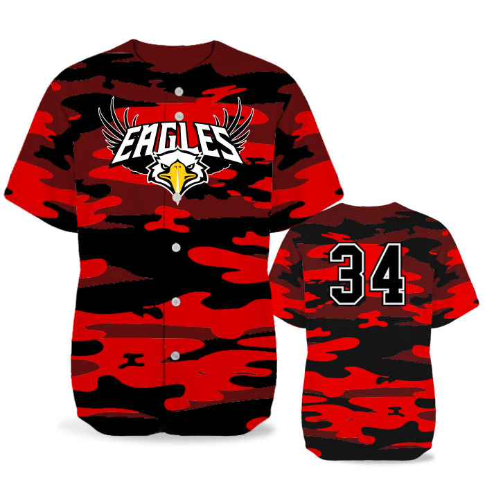 Custom Sublimated Elite Camo Traditional BB Jersey SS Full-Button