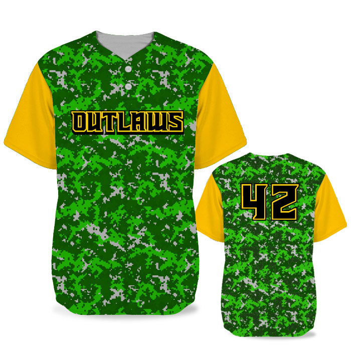 Custom Sublimated Elite Camotion Digi Camo BB Jersey SS 2-Button
