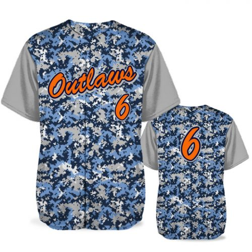 Custom Sublimated Elite Camotion Digi Camo BB Jersey SS Full-Button