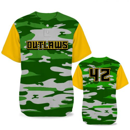 Custom Sublimated Elite Camotion Traditional Camo BB Jersey SS 2-Button