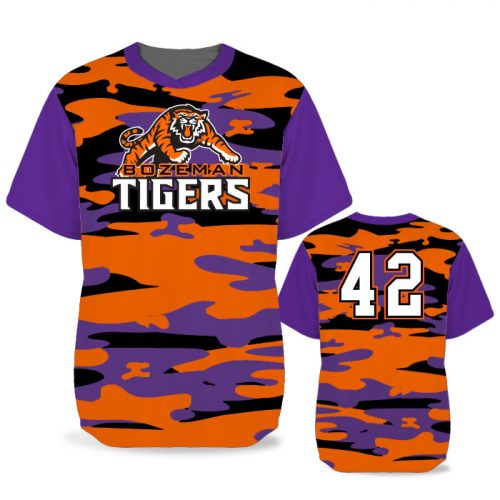 Custom Sublimated Elite Camotion Traditional Camo BB Jersey SS No-Button