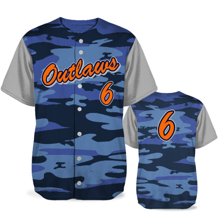 Custom Sublimated Elite Camotion Traditional Camo BB Jersey SS Full-Button