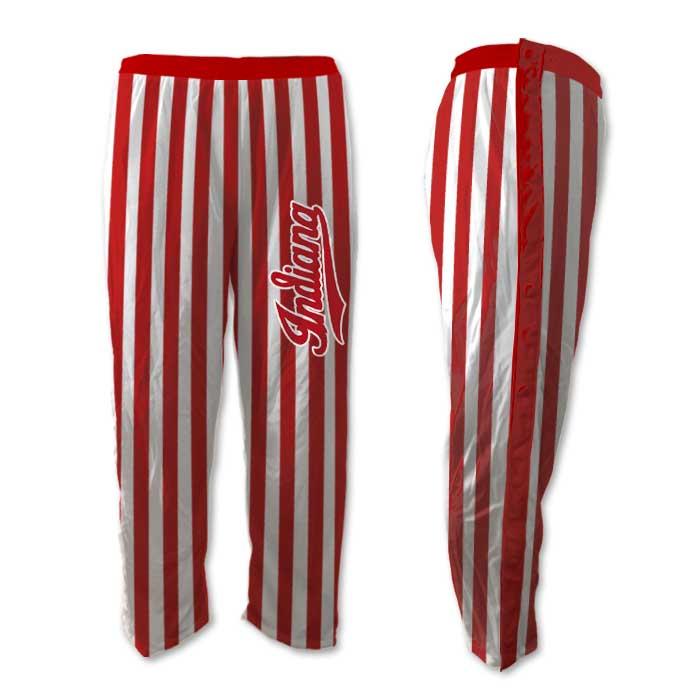 Elite Tearaway Basketball Pants Custom Sublimated Candy Stripe, Red and White Hoosiers