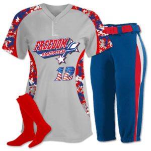 Elite Chamelon 2 custom sublimated softball team uniform featuring Digi Camo.