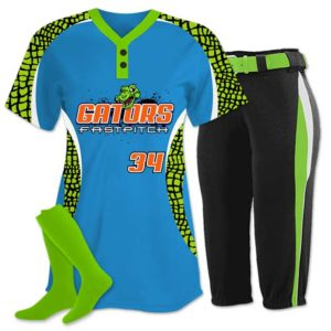 Elite Chamelon 2 custom sublimated softball team uniform featuring Gator.