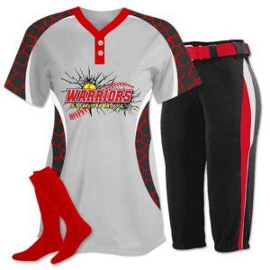 Elite Chamelon 2 custom sublimated softball team uniform featuring Giraffe.
