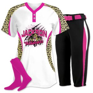 Elite Chamelon 2 custom sublimated softball team uniform featuring Leopard.