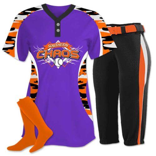 Elite Chamelon 2 custom sublimated softball team uniform featuring Traditional Camo.