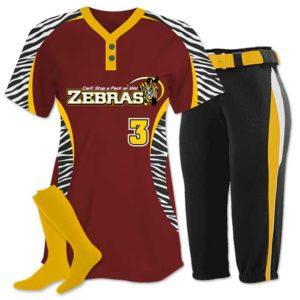 Elite Chamelon 2 custom sublimated softball team uniform featuring Zebra.