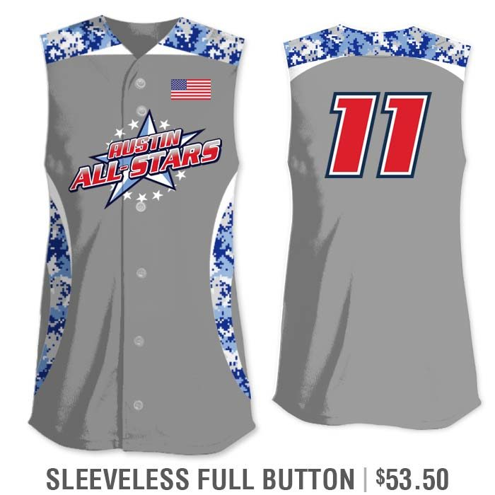 Sleeveless Full-Button Elite Chameleon Digi Camo 2 Custom Sublimated Fastpitch Jersey