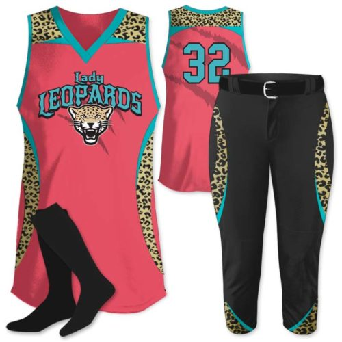 Elite Chameleon Leopard Deluxe, Custom Sublimated Softball Uniform Jersey & Pants