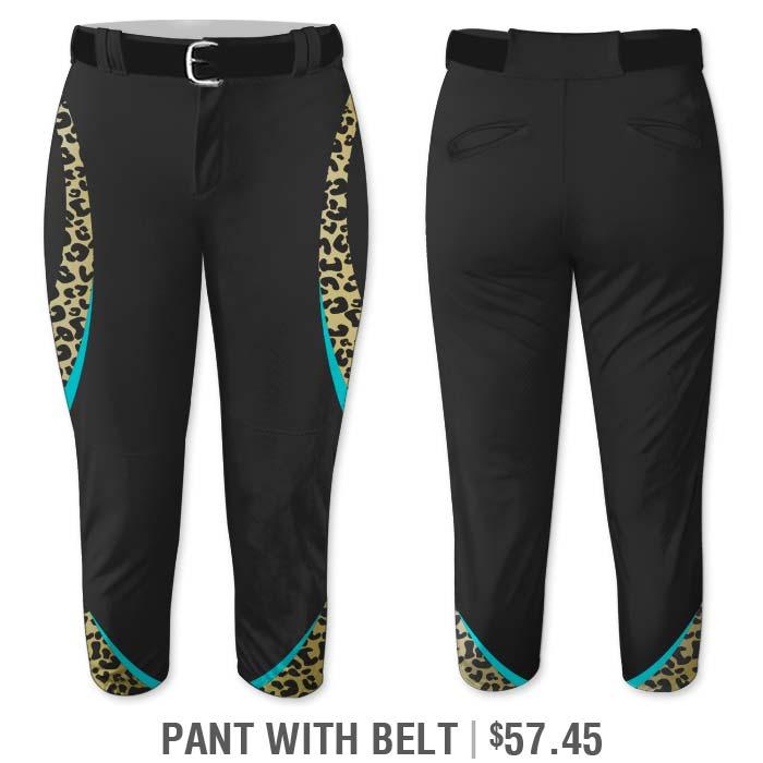 Elite Chameleon Leopard Deluxe, Custom Sublimated Softball Uniform Pants