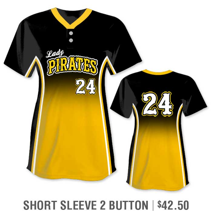 r Custom Fastpitch Jersey, Sublimated Softball Uniform Builder, Gradient, Short Sleeve 2-Button