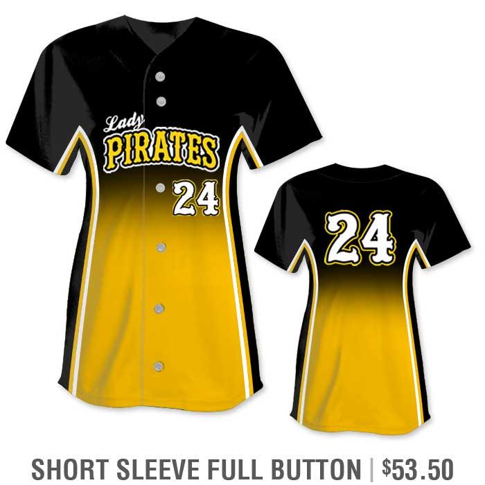 r Custom Fastpitch Jersey, Sublimated Softball Uniform Builder, Gradient, Short Sleeve Full-Button