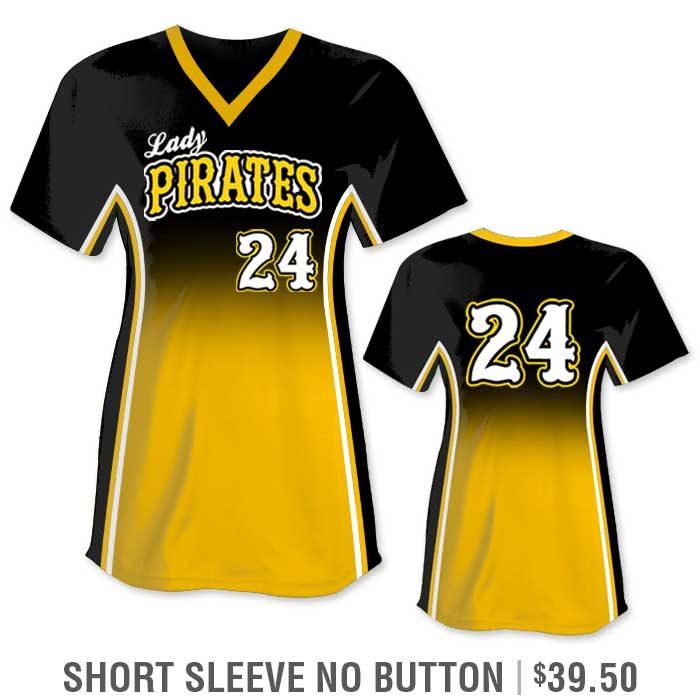 r Custom Fastpitch Jersey, Sublimated Softball Uniform Builder, Gradient, Short Sleeve No-Button Pullover V-Neck