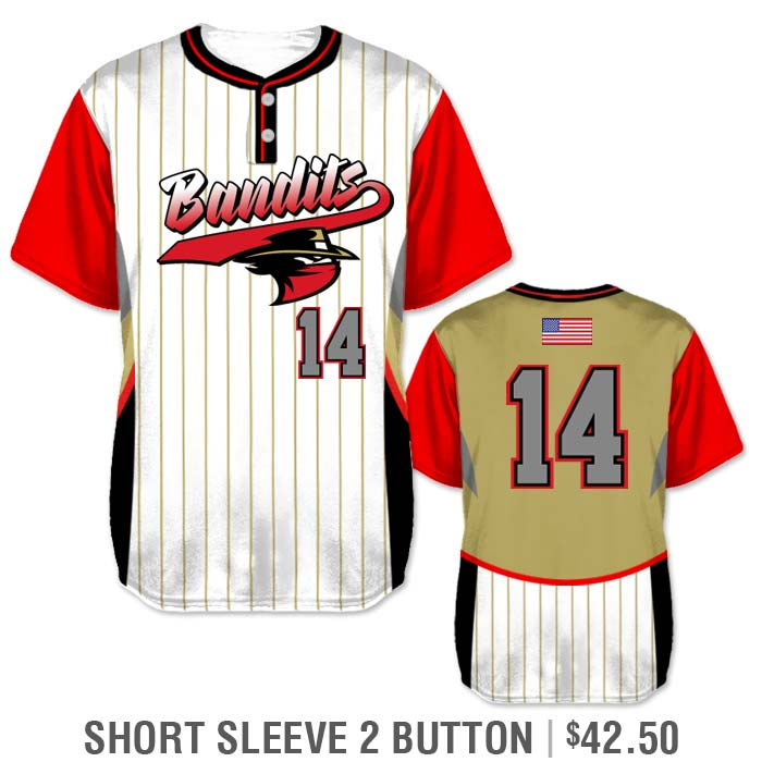 Elite Foul Lines Custom Baseball Jersey, Sublimated Short Sleeve 2-Button