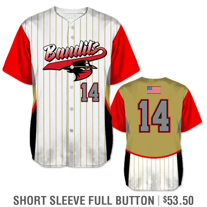 Elite Foul Lines Custom Baseball Jersey, Sublimated Short Sleeve Full-Button