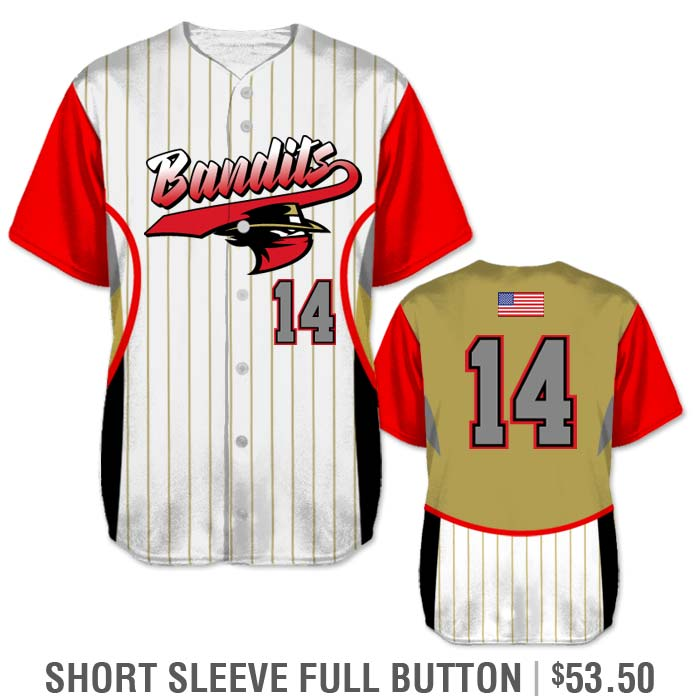 Elite Foul Lines Custom Baseball Jersey, Sublimated Short Sleeve Full-Button