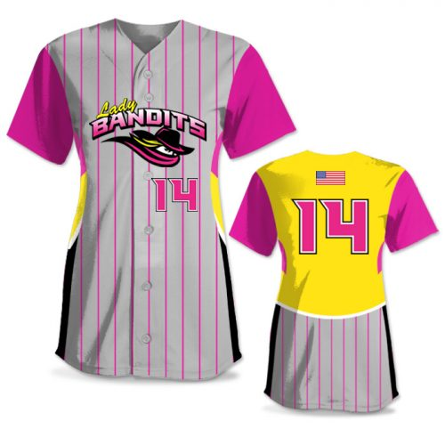 Custom Sublimated Elite Foul Lines FP Jersey SS Full-Button
