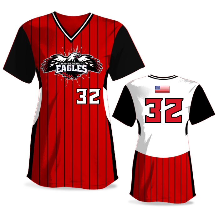 Custom Sublimated Elite Foul Lines FP Jersey SS No-Button