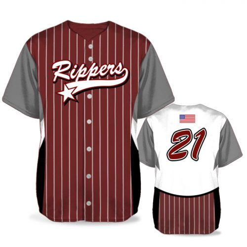 Custom Sublimated Elite Foul Lines BB Jersey SS Full-Button