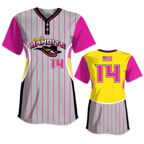 Elite Foul Lines Custom Fastpitch Jersey, Sublimated, Short Sleeve 2-Buttons