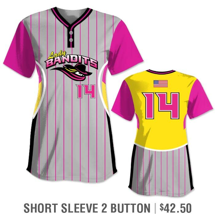 Elite Foul Lines Custom Fastpitch Jersey, Sublimated, Short Sleeve 2-Button