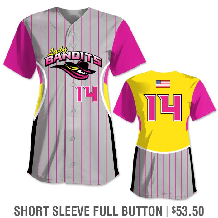 Elite Foul Lines Custom Fastpitch Jersey, Sublimated, Short Sleeve Full-Button