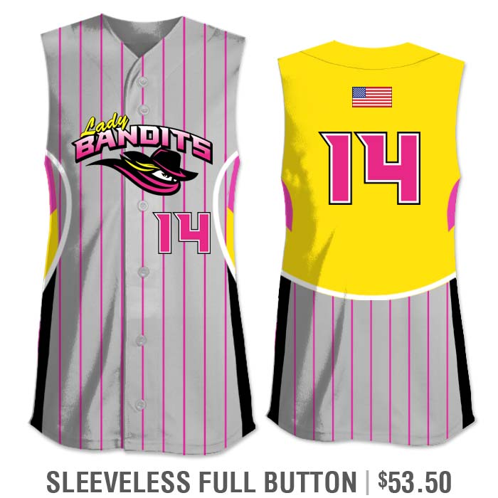 Elite Foul Lines Custom Fastpitch Jersey, Sublimated, Sleeveless Full-Button Vest