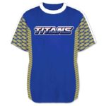 This is the Elite Join Forces Tee in Gridiron pattern - royal, vegas, white