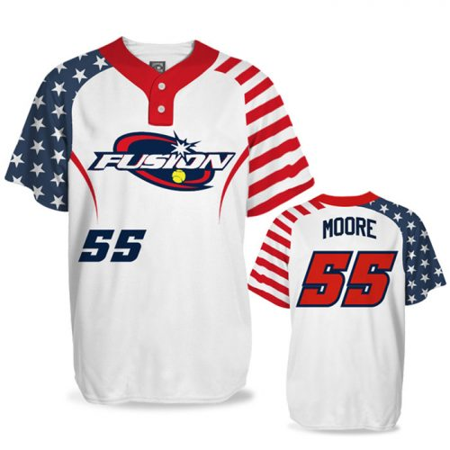 Custom Sublimated Elite Independence Day BB Jersey SS 2-Button