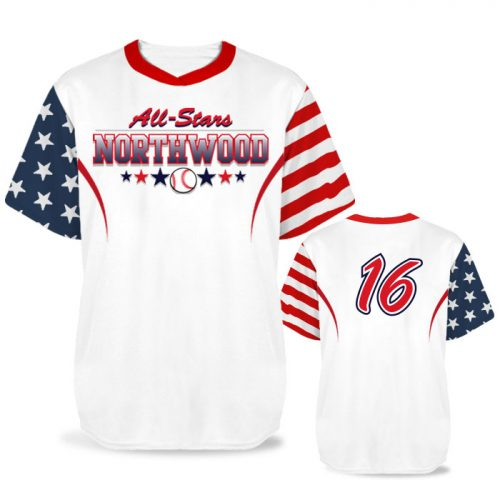 Custom Sublimated Elite Independence Day BB Jersey SS No-Button