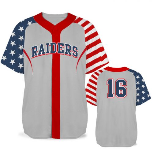 Custom Sublimated Elite Independence Day BB Jersey SS Full-Button