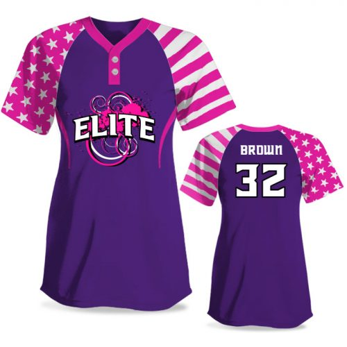 Custom Sublimated Elite Independence Day FP Jersey SS 2-Button