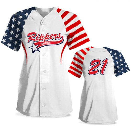 Custom Sublimated Elite Independence Day FP Jersey SS Full-Button