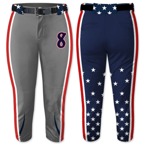 Elite Independence Day Custom Sublimated Fastpitch Softball Pants, Stars and Stripes, Allstars, Patriotic