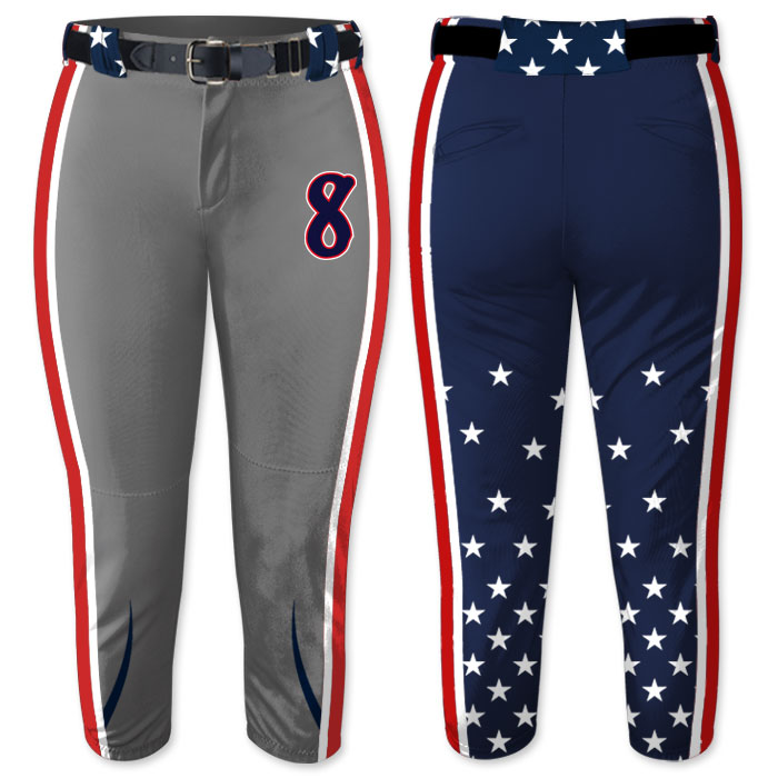 Custom Sublimated Elite Independence Day FP Pant, Patriotic, All-Stars, Softball