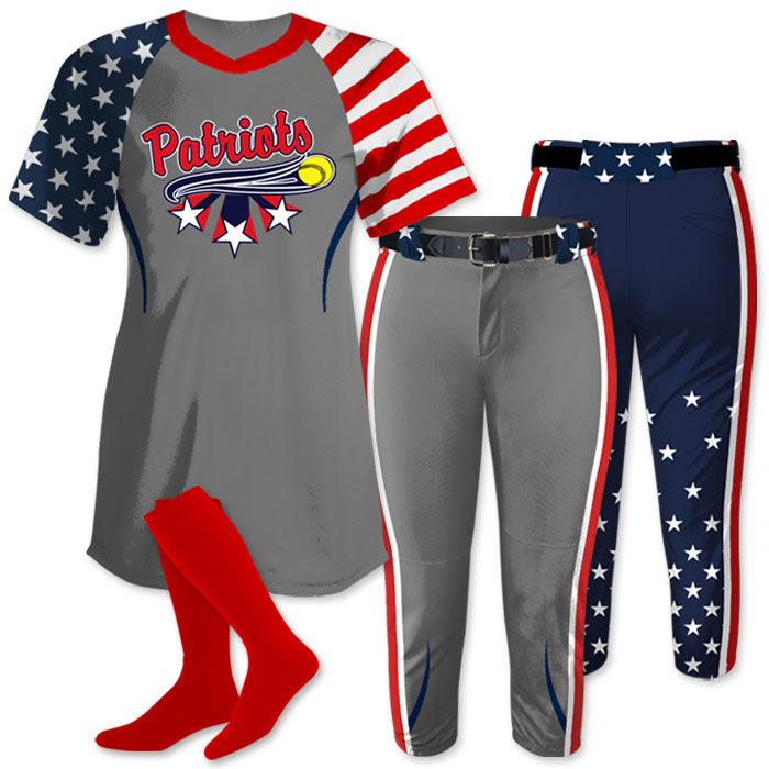 ndependence Day Softball Uniform, Patriotic, Custom Sublimated, Allstars