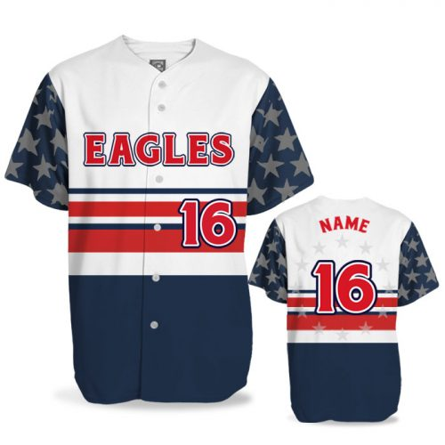 Custom Sublimated Elite Let Freedom Ring BB Jersey SS Full-Button