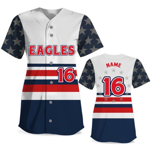 Custom Sublimated Elite Let Freedom Ring FP Jersey SS Full-Button