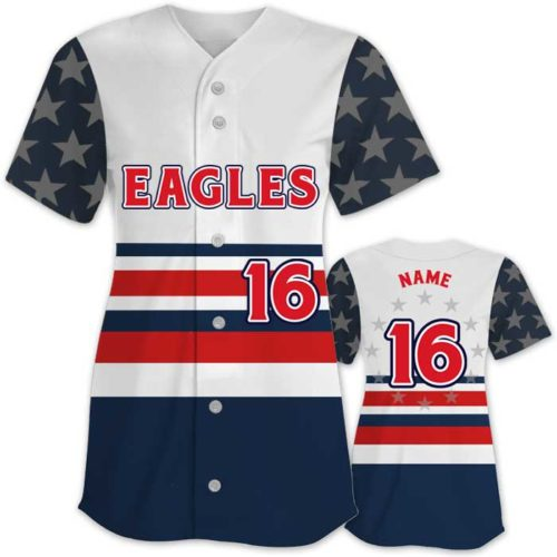 This is the Elite Let Freedom Ring custom sublimated patriotic softball jersey made by Team Sports Planet.