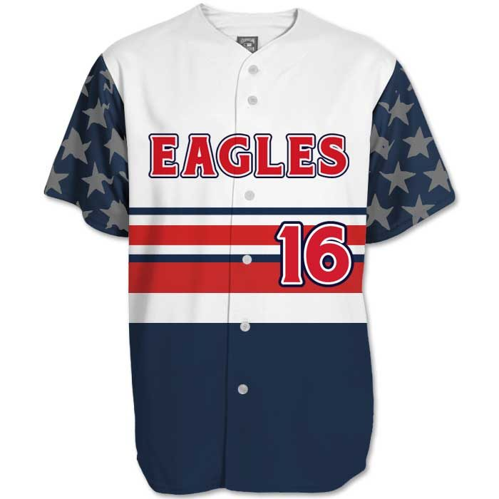 This is the Elite Let Freedom Ring custom sublimated patriotic baseball jersey made by Team Sports Planet.