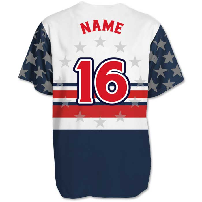 This is the back view of the Elite Let Freedom Ring custom sublimated patriotic baseball jersey made by Team Sports Planet.