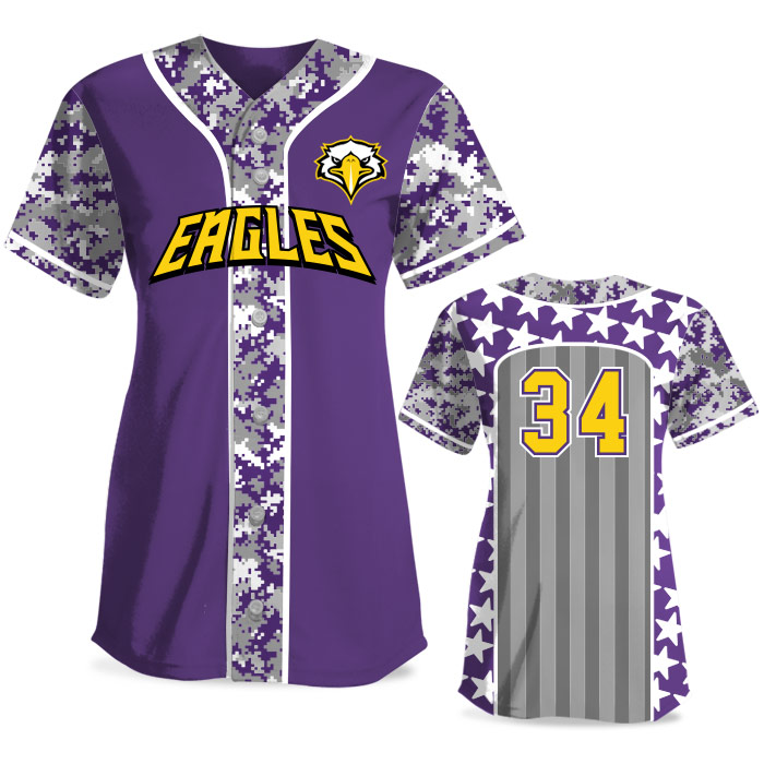 Custom Sublimated Elite Only in America Digi Camo FP Jersey SS Full-Button