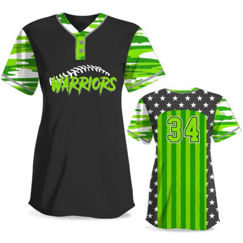Custom Sublimated Elite Only in America Traditional Camo FP Jersey SS 2-Button
