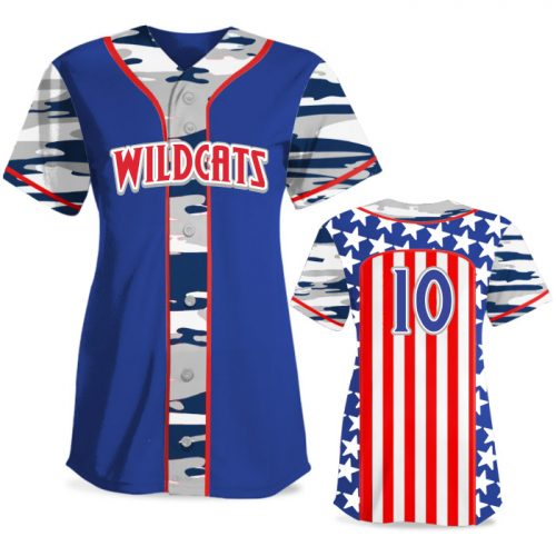 Custom Sublimated Elite Only in America Traditional Camo FP Jersey SS Full-Button