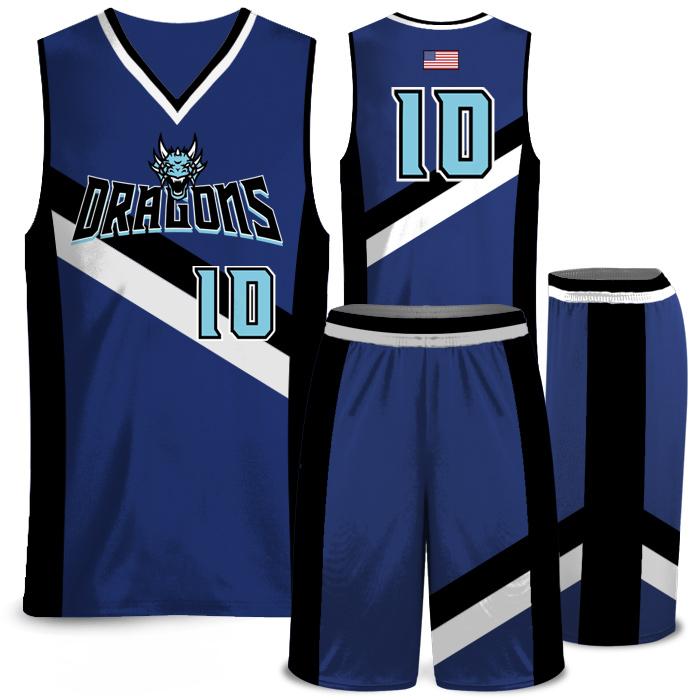 Elite Rally Stripes Sublimated Basketball Uniform