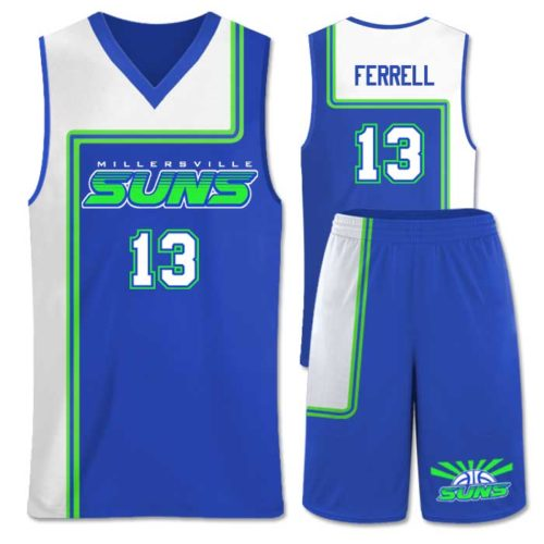This is the Elite Semi Pro basketball package featuring custom sublimated uniform made by Team Sports Planet.